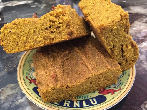 pumpkin cornbread close up