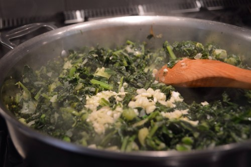 cooking kale and chard.JPG