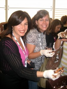 Gina and Jennie Tasting Divine Chocolate Glop in Scharffen Berger Box