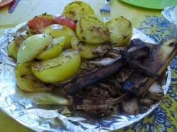 grilled meat and veggies